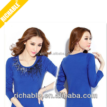 Comfortable soft slim women Blue best quanlity long sleeve screen printed cotton t shirts