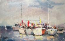 100% Handmade coastal city Oil Painting Heavy Texture Art Painting free shipping