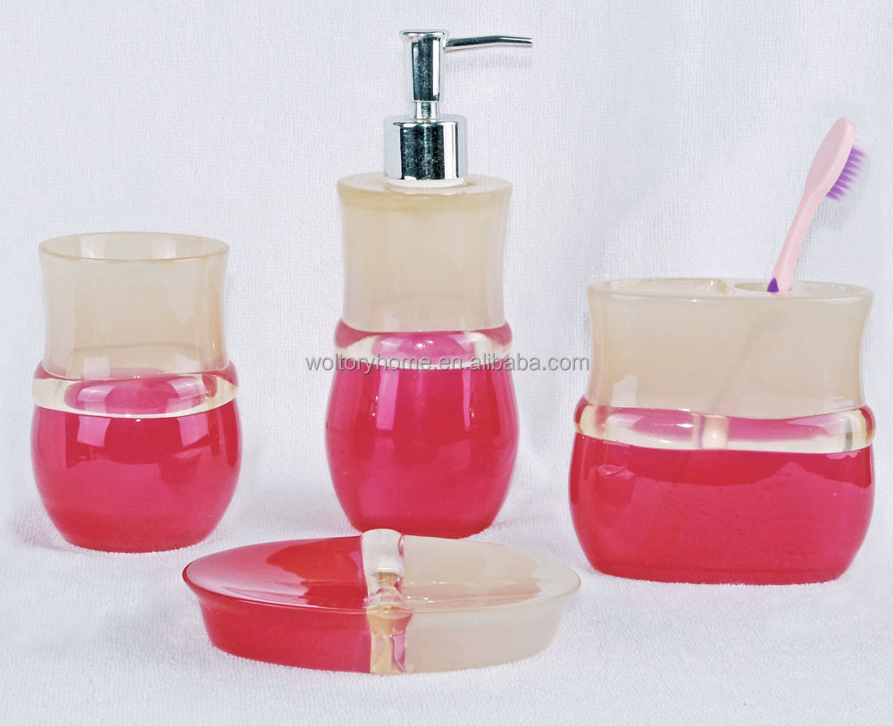 6 pcs jeu imprimé en céramique salle de bains accessoires / mode ...