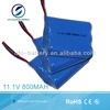 Li-ion Battery Pack 11.1V 800mAh Cylindrical 14500 3S Battery Pack For Wireless Alarm System