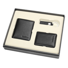 3PCS 100% Genuine Leather Wallet Set with Gift Box Credit Card Holder Key Holder Cheap Wallet gift set