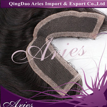V part lace closure 3.5*4 Brazilian virgin hair straight 130% density for black women