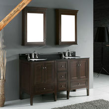 Floor mount modern double sink bathroom vanity with bathroom basin