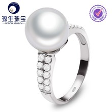 Austrian Hotsale Crystal Freshwater Cultured Pearl Rings With Diamond