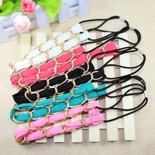 Fashion elastic fabric hair band/bulk fabric headbands with golden metal chain