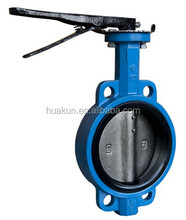 DN150 cast iron one shaft with hand wafer butterfly valve