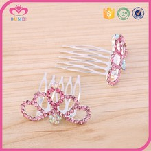 Hot sale pink rhinestone tiara comb hair
