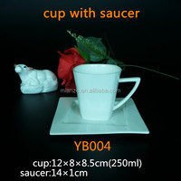 bone china ceramic cup unique design square shape 150ml/250ml coffee cup with saucer