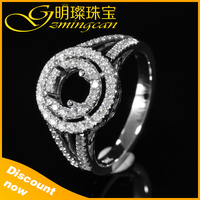 2015 Semi Mount Round Cut 14k White Solid gold jewelry Wedding ring