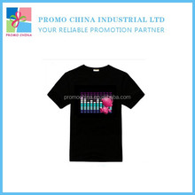 High Quality Customized EL LED Music T Shirt Flashing Light LED Music T Shirt