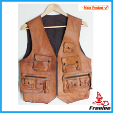Multi-Pockets Functional Sleeveless Vest Leather Hunting Vest Man