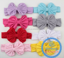 Cheap kids pure color bow elastic headbands/hair accessories for dreadlocks
