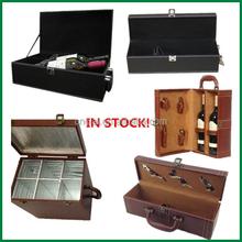 1 bottle,2 bottle,6 bottle stock Pu leather cover wood wine box wholesale