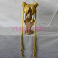 Girl Sailor Moon Cosplay Wig Janpanese Anime Long Wig with Ponytails