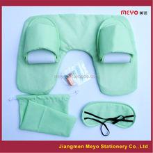 Travel Inflatable U-shape Pillow Set/PVC Flocking Neck Pillow Set/Promotional Gift Pillow 4PCS Set