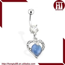 HT CZ Gems Paved Hollowed Heart with Blue Cats Eye Gemstone Dangle Surgical Steel Belly Navel Piercing Jewelry