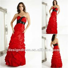 Beautiful and graceful red strapless swetheart neckline back open taffeta evening dress prom dress 2012 new design E5