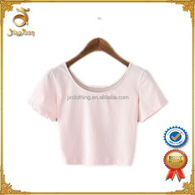 Most popular super short pattern women o-neck plain t shirt for supply
