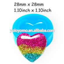 PYL160 Heart Accessories Silicone Push Mold 28mm - Cabochon Miniature Food Marshmallow Mold, Cotton Candy Mold Baby Mold