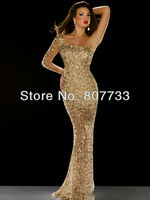 CW266 Shiny Sexy glod one shoulder sequins beaded see through prom dresses long sleeve evening dress