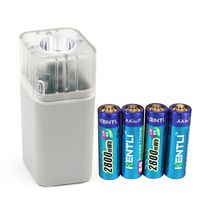 4pc 2800mWh 1.5v aa rechargeable battery+ 4 PORTS Charger W / flashlight,portable battery charger