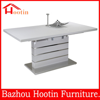 single leg extendable 4-6 seater wood table for dining room