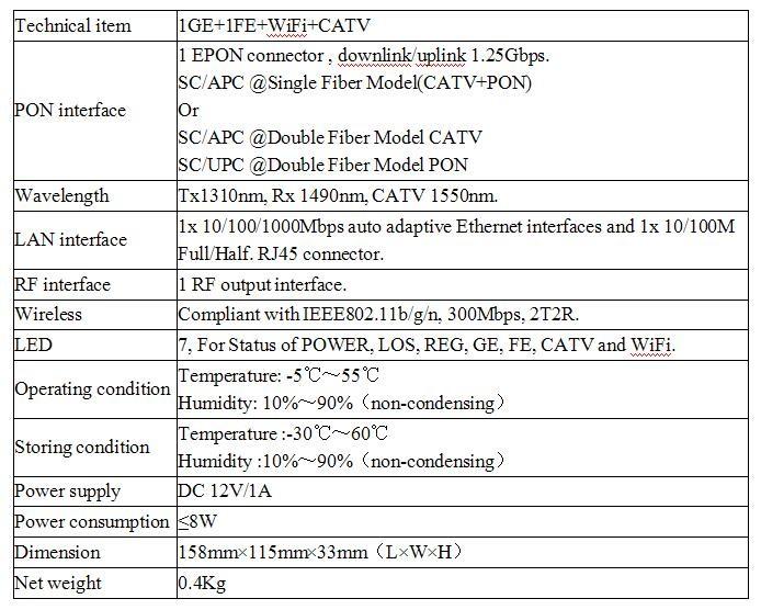 1GE + 1FE + WIFI + CATV EPON ONU Triple Play Service avec RF Sortie Interface Conforme avec IEEE802.11b/g/n