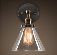 Vintage Pendant Light Glass lamp shade with copper bulb holder
