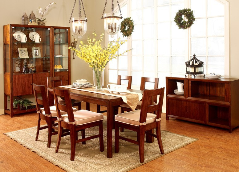 Golden Cherry Colour Heat Proof Solid Wood Dining Room Furniture Sale Buy D