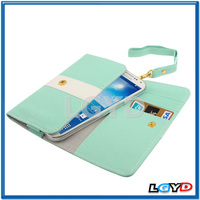 Universal Cross Texture mobile Phone Leather Pocket Sleeve Bag with Credit Card Slots & Lanyard