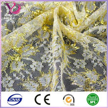 Golden string spandex lace nylon top elastic lace fabric