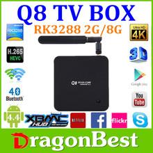Reasonable price rk3288 Q8 TV Box quad core Android 4.4 smart tv box bluetooth Amlogic 4K RK3288 Tv Box
