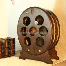Antique imitation and wheel shape wooden wine holder rack