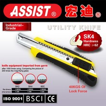 Plastic with rubber grip handle 18 mm carbon steel Blade manual screw lock Utility Knife