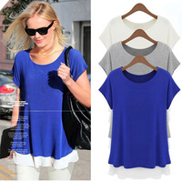 new models Women's Fashion Chiffon Short Sleeve Loose T-Shirt Blouse Tops online shopping