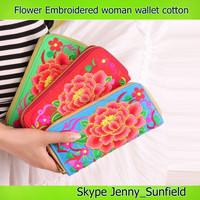 embroidered purses Chinese peonies cotton woman wallet with zipper
