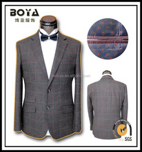 2014 slim fit 100% wool tweed blazer for man grid business suit