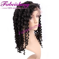 Raw unprocessed Brazilian hair front lace wig full cuticle virgin remy human hair deep wave full lace wigs