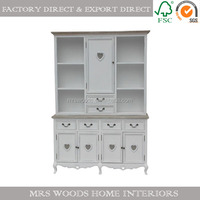 european french shabby chic living room furniture wooden display cabinet white painted antique style cabinet