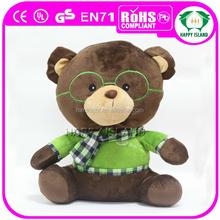 New HI custom plush green teddy bear with scarf