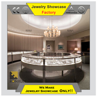 Glass store display counter table with led for fashion jewelry display showcase