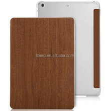 2015 new product wooden pattern leather untra thin case for apple ipad