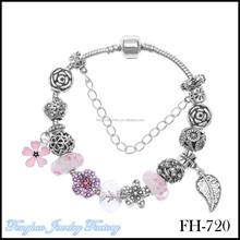 10pc/lot 2015 Newest charm bracelet jewelry wholesale purple crystal flower and leaf charm fit for DIY jewelry charm bracelet