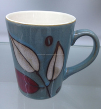 M3525 Wholesale stoneware mugs with different colors and handpainting 12oz