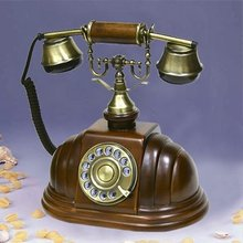 Rotary wooden antique telephone for home decoration