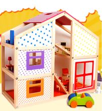 Happy family doll house,baby wooden doll house,doll house toy