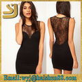 shangyi venta caliente cordón largo vestido de noche negro