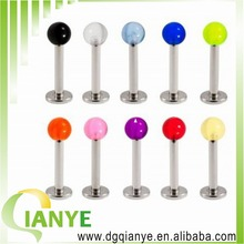 2014 hot sale UV Ball Lip Labret Rings labret ring piercing