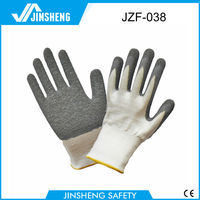 2015 cotton latex breathable safety gloves chemical resistant safety gloves pu gloves