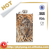 novelty leopard print leather wrapped factories hip flask
